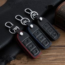 3 Buttons Leather Car Key Cover case Keychain skin set for Volkswagen VW Polo Golf Passat Touareg Tiguan Beetle Bora Jetta Key