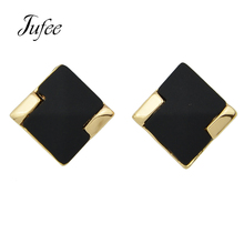 Jufee Punk Rock Style Jewelry Gold-Color With Black Stone Geometric Square Shape Stud Earrings For Women Fashion Assessories(China)