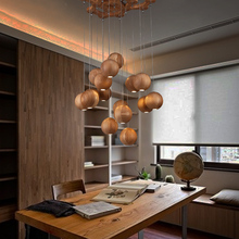 Wood pendant light japanese style personalized brief single head wood decoration pendant light kits fixtures(China)
