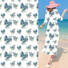 Plum Blossom Butterfly Chiffon Fabric Digital Printing Haute Couture Fashion Design Material Cloth Curtain Home Decor Materials