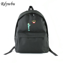 Rdywbu Hot Funny Embroidery Printing UFO Alien Men Backpack Tide Brand Wild Cute Men And Women General Backpack Student Bag H128