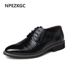 NPEZKGC Mens Business Shoes Leather Luxury Dress Shoes Men Four Seasons Male Fashion Flats Pointed Toe Work Shoes(China)