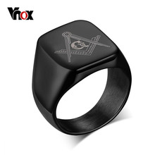 VNOX Black Stainless Steel Men Ring Provide Customization Engraved School Masonic Football Team Commemorate Jewelry