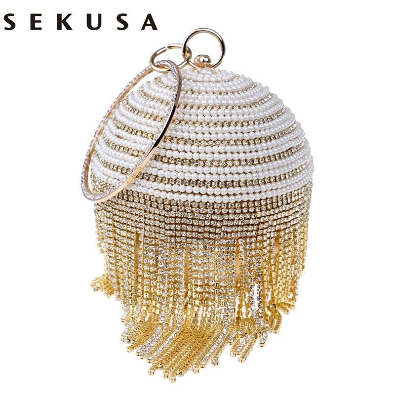 SEKUSA Circular Design Beaded Women Evening Bags Rhinestones Tassel Day Clutches Purse Silver/Gold/Black/Red/Blue Evening Bag<br>