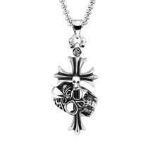 Hip Hop Punk Gothic Cross Skull Necklace Titanium Stainless Steel Fleur De Lis Skeleton Head Pendant Necklaces For Men Jewelry
