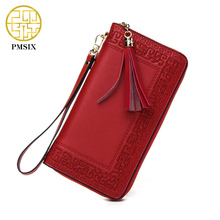Pmsix 2017 Embroidery Cattle Split Leather Wallet Zipper Brand Long Womens Wallets Purses Black Red Ladies Clutch Wallet P420017(China)