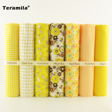 Yellow and Orange Color Flower/check/dot/stripes Style 7 PCS Plain Cotton Fabric for Sewing Bundle Forfat Quarters Decoration