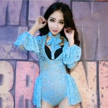 Fashion Upscale Bar New Women ds Lead Dance Costume Sexy Sequins Rhinestone Perspective Stage Wear Performance Bodysuit