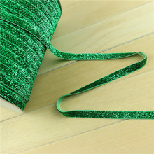 "3/8""10mm green Sparkle Glitter Velvet Ribbon single faced printed ribbon birthday party christmas decoration PXS406(China)"