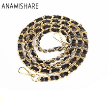 ANAWISHARE Bag Strap Gold Metal Chains Straps Shoulder Bag Strap Replacement Handbag Strap Accessory Bags Parts Bag Belt Long(China)