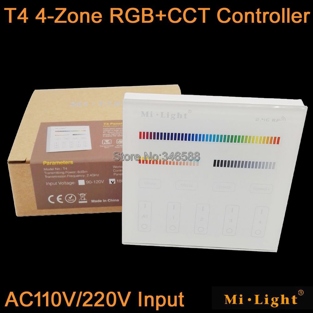 Mi.Light T4 4-Zone RGB+CCT Smart Touch Panel Remote Controller AC110V or AC22V Input Wall Mount 2.4G Wireless as FUT092<br><br>Aliexpress