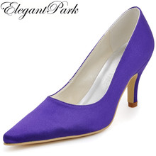 New Arrival Sexy High Heel Wedding Women Shoes EP2131 Pointed Toe Purple 3inch Satin Ladies Bridesmaids Prom Party Pumps(China)