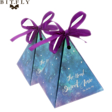BITFLY 50pcs Kraft DIY paper Purple Triangular Gift Box with Starry Sky Wedding Candy Box Favors and Gifts Bag Party Decorations