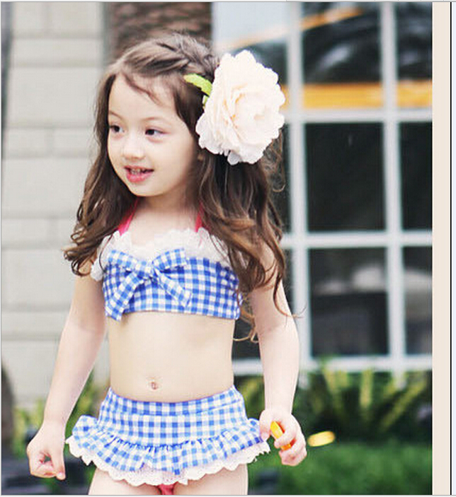 2017  Lovely Girl Plaid Tankini Swimsuits Lacing Halter Bow Biquini Beach Wear Bandage Baby Child Trajes De Bano EF646<br><br>Aliexpress