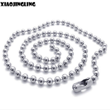 XIAOJINGLING 50Pcs/Set Lengh 60cm Chain Necklace Fashion Jewelry DIY Dog Tag Chain 2.4mm Ball Bead High Quality Unisex Necklaces
