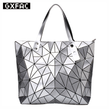 2017 Fashion Women Tote Bags BAO Fold summer Diamond Handbag PU Leather Hand Bag Laser Geometric Designer Handbags High Quality