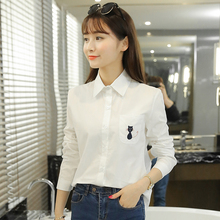2017 Preppy Style Women Shirts Full Sleeve Embroidery Slim Han Fan Base Blouse Shirt White 1603