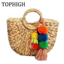 TOPHIGH Handmade Bag Women Pompon Beach Weaving Ladies Straw Bag Wrapped Beach Bag Moon shaped Bag C80