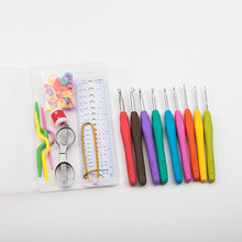 37Pcs/set knitting & crochet kit, Grip soft handle crochet hook Set ,with Scissor, stitch markers and more Sewing Kit(China)