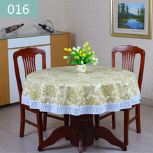 2016New PVC Plastic Plus Velvet Thickened Round Tablecloths Waterproof Oilproof No Clean Tablecover Pastoral Style Lace 009(China)