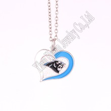 Drop Shipping 5 pcs a lot sporty necklace with Carolina Panthers Logo charm heart pendant link chain