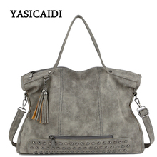 Large Capacity Famous Brand Rivet Handbag Fashion Women Tassel Shoulder Bag Pu Leather Female Big Casual Tote Bag