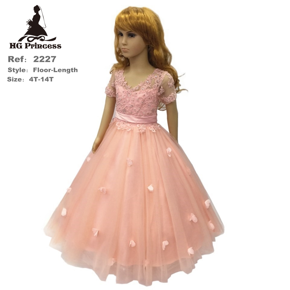 HG Princess 4- 14 Years Patchwork Girl Party Dress 2016 New Ivory Gold Flower Girl Dresses Lace Applique Kids Evening Gown  2228<br>