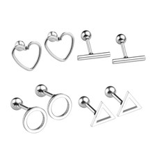 "2017 JOVIVI 8pc Stainless Steel Hollow Round/Triangle/T Bar/Heart Barbell Cartilage Tragus Helix Stud Earrings 16 Gauge 1/4"" Bar"