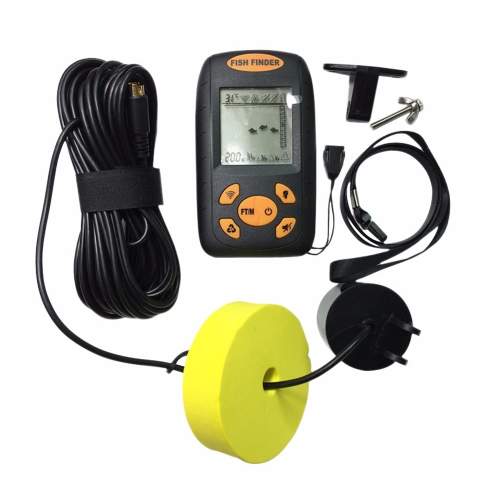 Portable LCD Fish Finder Water Depth &amp; Temperature Fishfinder with Wired Sonar Sensor Transducer 100M Echo Sounder<br>