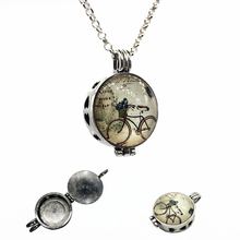 1pc Vintage Silver Bicycle Design Essential Oil Fragrance Aroma Diffuser Trendy Cameo Cage Locket Pendant Necklace Jewelry Gifts