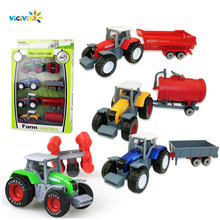 4Pcs/Set Mini Tractors Engineering Car Farmer Utility Cars Technical Vehicle Model Artificial Dump Truck Kids Toy Perfect Gift