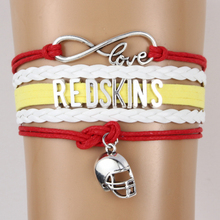 (10PCS/LOT) Infinity Love Redskins NFL football Team Bracelet Wristband friendship Bracelet Customized Colors best gift for fans