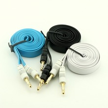 1pcs 3FT/1M 3.5mm Male to Male Stereo Audio Auxiliary AUX Flat Cable for PC iPod MP3
