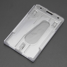 Hot Hard Plastic ID Access Card Cover Credit Card Case Badge Holder Double Side Z11 Drop ship(China)
