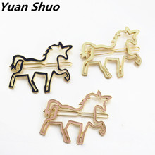 Yuan Shuo New gorgeous girl pink Enamel horse unicorn head clip Free shipping accessories wholesale Europe America(China)