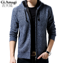 2017 Hot Sale Brand Clothing Winter Thicker Cardigan Male Fashion Quality Cotton Christmas Sweater Men Casual Gray wine Red Men(China)