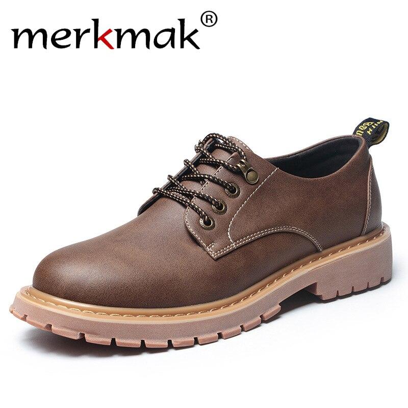 Merkmak New Fashion Italian Men Shoes Luxury Classic Men Leather Shoes Men Oxfords Designer Waterproof Martin Outdoor Footwear<br>