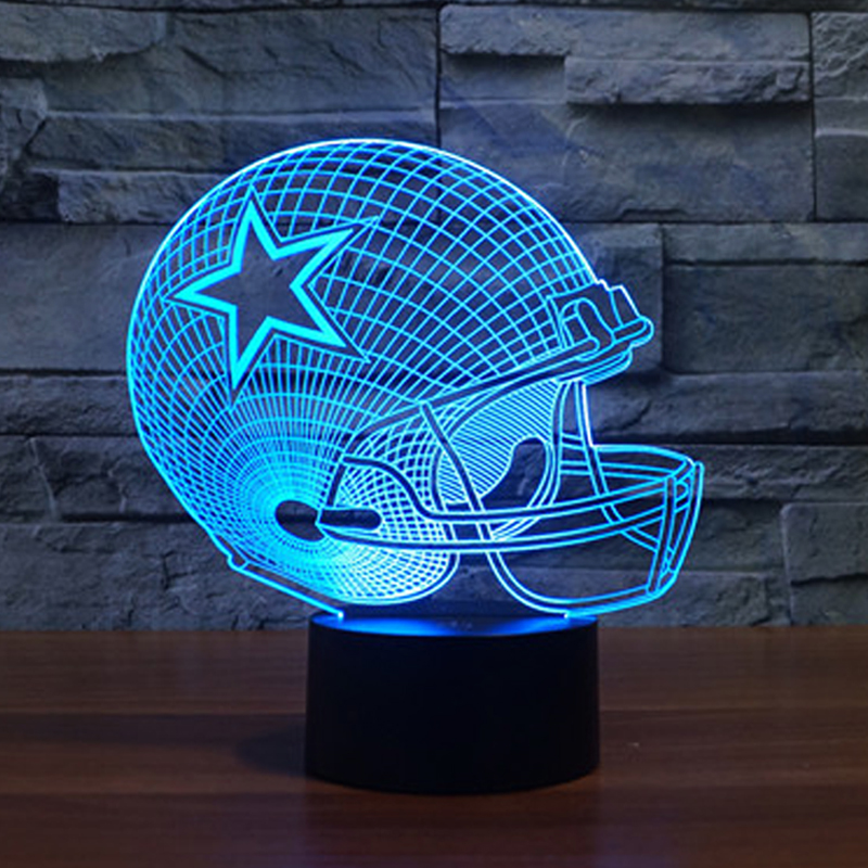 3D Dalla Cowboy Lava LED USB Lamp American Football Helmet Sports Caps Jones Elliott Star Gift Night Light Soccer Bulb Lampara(China (Mainland))