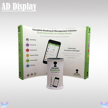 10ft Exhibition Booth Curved Pop Up Banner Display Wall With Portable Tension Fabric Podium Oval Table(Include Printing)