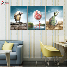 triptych home decoration art prints on canvas kids room nordic Creative Egg Penguin Crocodile Bird HD Print Free Shipping Modul