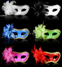 Multi Color PVC Feather Mask Half Mask For Women Fancy Dress Costumes Accessory 10PCS/LOT LP052(China)