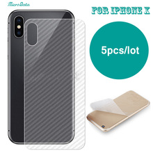 MicroData 5Pcs/lot For iPhone X Back Film guard 3D Cover Clear Carbon Fiber Screen Protector For iPhoneX screen saver guard