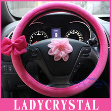 Ladycrystal 38 CM Car Steering Wheel Covers Soft Velvet Car Steering Wheel Cover For Ford For Toyota For Kia