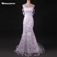 Buy 2017 Real Images Mermaid Strapless Lace Appliques Wedding Dresses Robe De Mariage Wedding Gown for $199.90 in AliExpress store