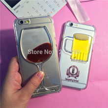 For iphone 5 5S SE 6 6s Plus,7 7 Plus Liquid Liquor Beer Wine Cocktail Bottle Clear Transparent Hard Plastic Case Back Cover