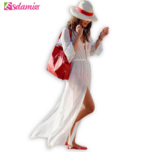 Women's Sexy Beach Dress Summer White Chiffon Dress Long See Through Swimwear Pareo Beach Sheer Dress(China)