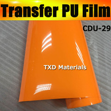 Whole roll selling size:0.5x25m per roll High quality orange yellow heat transfer pu vinyl film by free shipping CDU-29 COLOR