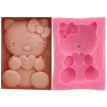 Cartoon Hello Kitty Cat Silicone Fondant Soap 3D Cake Mold Cupcake Jelly Candy Chocolate Decoration Baking Tool Moulds FQ1873(China)