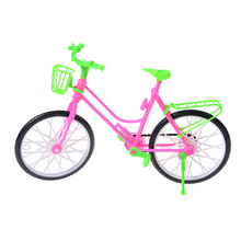 1Pc Bike Toy Plastic Green+pink Detachable Bicycle With Basket For Barbie Doll Gift Toys For Children kid girl