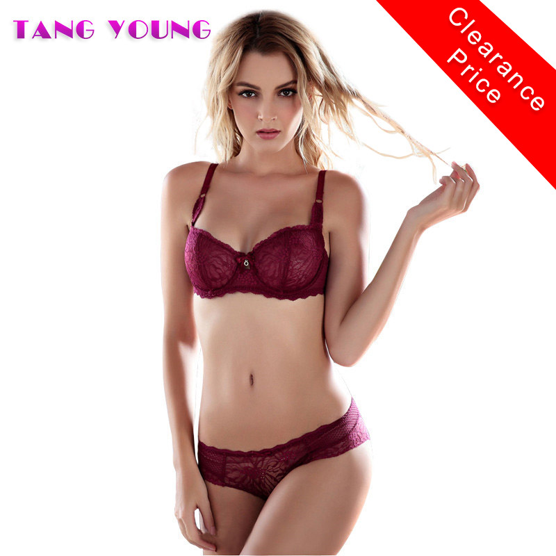 TANG YOUNG Sexy Ultra-thin Lace Embroidery Bra Hollow Mesh Bra Set Transparent Red Bra Panty Set Brand Women Underwear Sets 2018